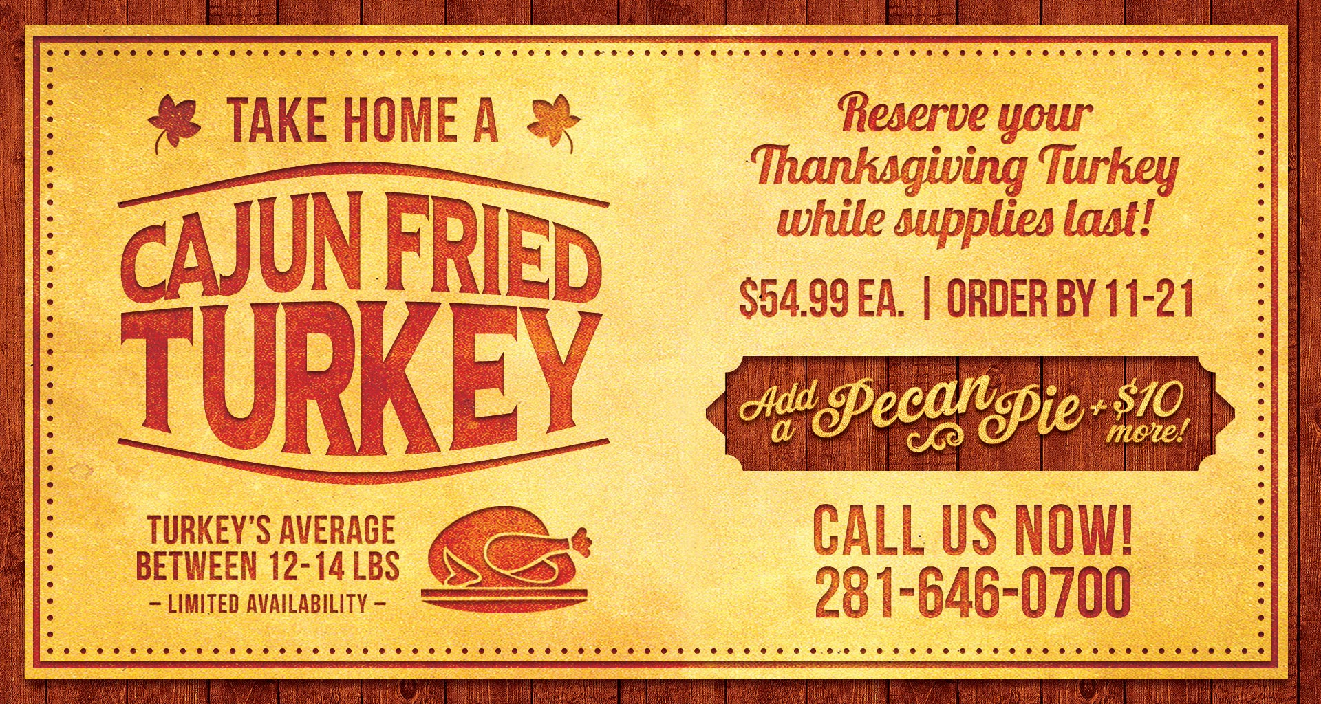Take Home a Cajun Fried Turkey and Pecan Pie - Orleans Seafood Kitchen