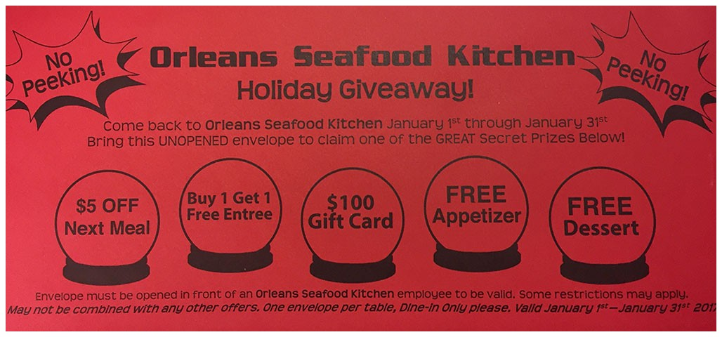 No Peeking Promotion - Orleans Seafood Kitchen Holiday Giveaway