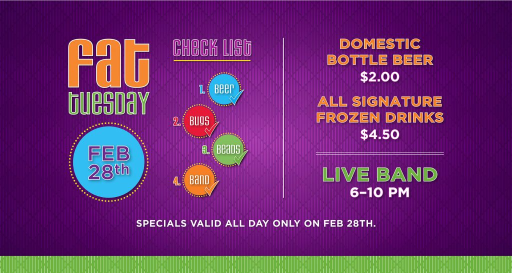Fat Tuesday Feb. 28th at Orleans Seafood Kitchen