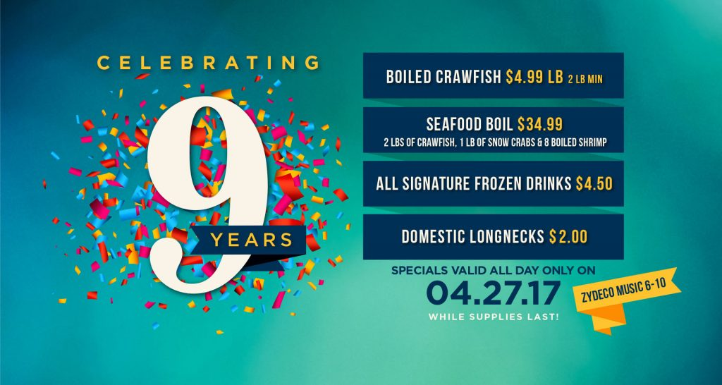 Celebrate Orleans Seafood Kitchen 9 Year Anniversary