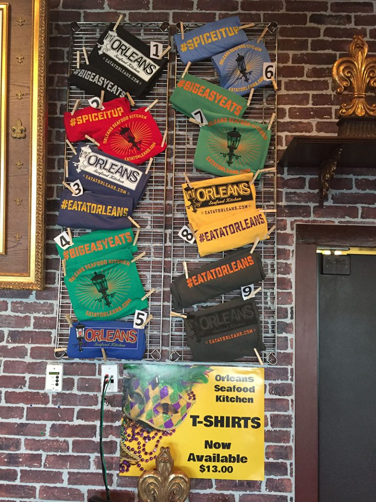 T-shirts available at Orleans Seafood Kitchen